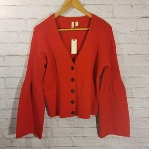 Anthropologie Bell Sleeve Red Cardigan